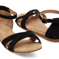 BLACK SUEDE WOMEN'S CORREA SANDALS