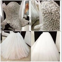 Luxury 2016 Two Pieces Wedding Dress Sweetheart Sleeveless Pearls Beading Tulle Ball Gown Wedding Gowns vestido de noiva