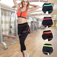 Women Slim Fit Ankle-length Leggings with Shorts Sport Suit Fitness Sportswear Stretch Exercise Yoga  Trousers Pants _ 2162