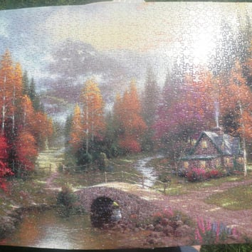 Thomas Kinkade 1000 piece assembled puzzle, wall art, home decor