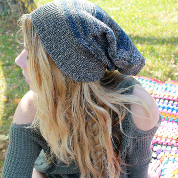 Earth Tones Patchy Textured Pattern Recycled Sweater Slouchy Tam Hat Beanie By MountainGirlClothing