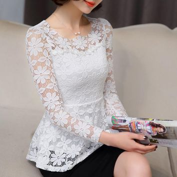 New Summer Blusas Peplum Top 2017 Black White Lace Blouse Women Slim Long Sleeve Shirt Female Vintage Ruffle Top Chemise Femme