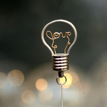 Necklace ,Wire Wrapped Necklace,LightBulb Necklace ,LOVE Has Glowing Effect