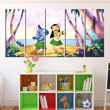 Lilo and stitch wall art print,  Lilo and stitch canvas, framed,  Lilo and stitch wall decor, bedroom wall art, art for kids room 11m05