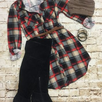 Fall Approaching Red Taupe Plaid Dress