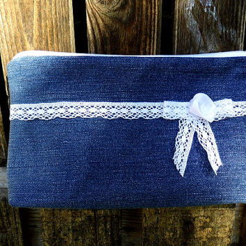 Denim and lace cosmetic bag, clutch, purse, make up bag upcycled jeans, vintage style