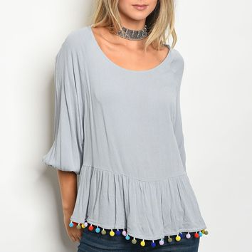 Ladies pompom multi color trim detail 3/4 sleeve top
