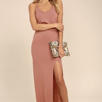 Watch the Sunset Rusty Rose Maxi Dress