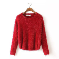 Fur Long-Sleeve Sweater