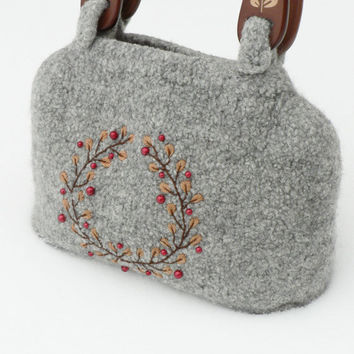 Gray Embroidered Handbag knitted felted purse by MuffinTopKnits