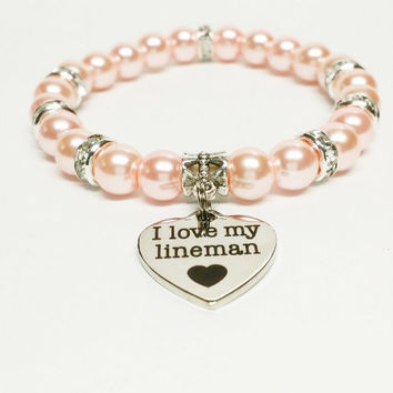 I Love my Lineman Bracelet | Lineman's Wife Jewelry | Lineman's Girlfriend Jewelry | Power Lineman Jewelry | Love My Lineman Jewelry
