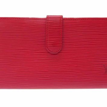 AUTHENTIC LOUIS VUITTON M63257 Continental ViennoisLong wallet Red Epi 0056