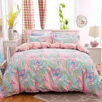 Unihome Bohemian Bedding Set Polyester Cotton Soft Bed Linen Duvet Cover Pillowcases Bed Sheet