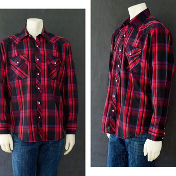 Vintage Western Open Trails Shirt, Muti Color Men's Button Up, 70s Long Sleeve Shirt, Vintage Plaid Shirt , Size Large, Rockabilly Style