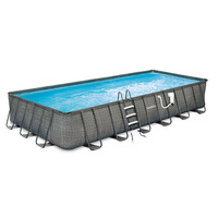 Summer Waves Elite Dark Wicker 12-ft x 24-ft Rect.Metal Frame Pool Package - 52-in Deep - JCPenney