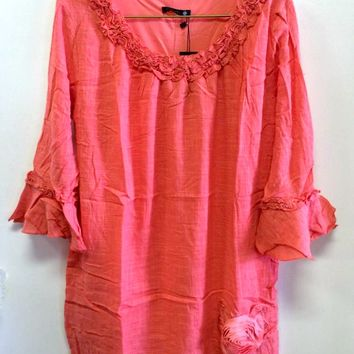 Adorn Fashion Coral Linen Ruffle Dress with Rosette