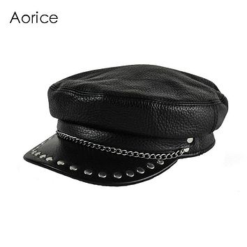 HL173-F genuine leather cap Baseball hat women's brand bone militar Black newsboy black caps tactical captain sailor hats unisex