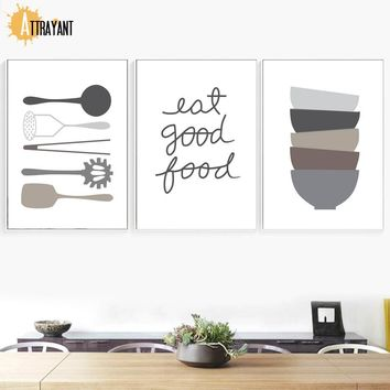 Tableware Bowl Quotes Wall Art Canvas Painting Nordic Posters And Prints Scandinavian Wall Pictures Kitchen Dining Room Decor