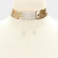 """12"""" gold sequin pave crystal mesh choker necklace .30"""" earrings 1.20"""" wide"""