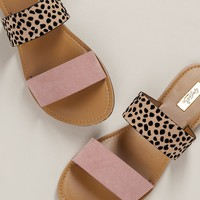Leopard Double Band Flat Slide Sandals