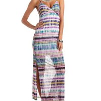 Tie-Dye Striped Side Slit Maxi Dress - Turquoise Combo