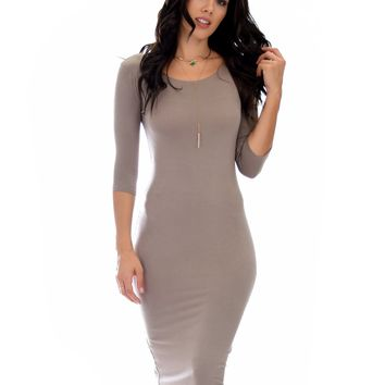 Lyss Loo True 2 You 3/4 Sleeve Taupe Body-con Midi Dress