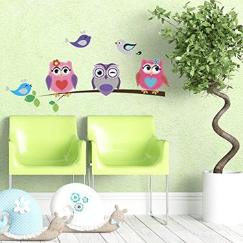 "Wall Decals Owls Sitting Branch Tree Vinyl Sticker Birds Nature Decal Baby Whimsical Owls Full Color Nursery Decorations Bedroom NS2028 (16"" Tall x 28"" Wide)"
