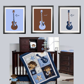 Guitar Prints in baby blue, brown, navy and silver 3 pc set 11x14 Looks great with Carter's Monkey Rockstar Bedding  by Yassisplace.etsy.com