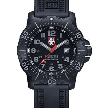 Luminox Mens Sea Steel 4200 Series - Black Case & Rubber Strap - 45mm