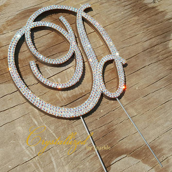 Gorgeous Swarovski Crystal Monogram Cake Topper Any Letter Bridal Birthday Wedding Celebration