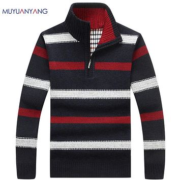 Casual Striped Knitwear Half Turtleneck Classic Pullovers Men Sweaters Half Zipper Pullovers Sweaters