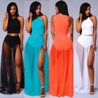 Summer beach dress 4 color women chiffon maxi 2 piece set dresses club wear sexy clothing beach wear floor length dresses XD025