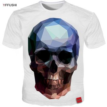 Men Summer T shirt Unique Design 3D Diamond Skull Print