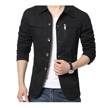 New Casual Jacket Solid Fashion Coats Men Cotton Military Overcoat Outerwear Slim Fit Men Jacket