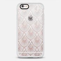 White Art Deco Lace on Crystal Transparent iPhone 6s case by Micklyn Le Feuvre | Casetify