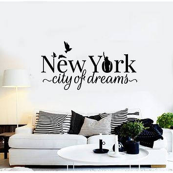 Vinyl Wall Decal NY New York City Of Dreams Statue Of Liberty Birds Stickers Mural (g739)