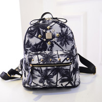 Cute Studded Rivets Palm Tree Printed Canvas Backpack