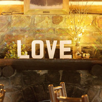 LOVE Block Letters Sign & 2 Love Birds Wedding Decoration Prop