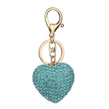 Heart Shaped Rhinestone Keychain