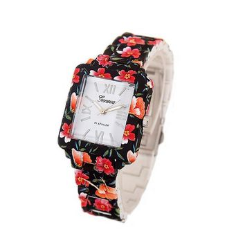 Women's Casual Rectangular Face Black Floral Printed Steel Watch