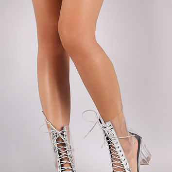 Lucite Metallic Trim Combat Lace Up Chunky Heeled Ankle Boots