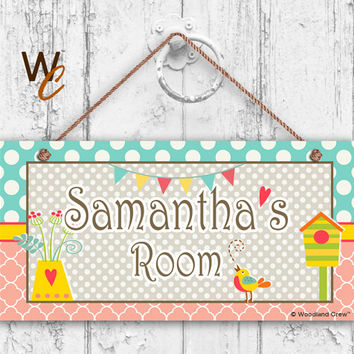 "Nursery Sign, Garden, Girls Room Sign, Personalized Sign, Kid's Name, Kids Door Sign, Baby Nursery Art, 5"" x 10"" Sign, Made To Order"