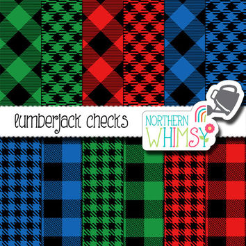 Lumberjack Digital Paper Pack – buffalo checks in red, blue, and green with black – gingham checks – lumbersexual - hipster - commercial use