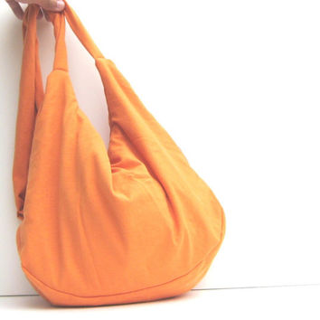 Large Purse. Hobo Bag. Slouch Bag. Cross Body Hip Bag. Hipster Purse. Summer Fashion. Pumpkin Orange.