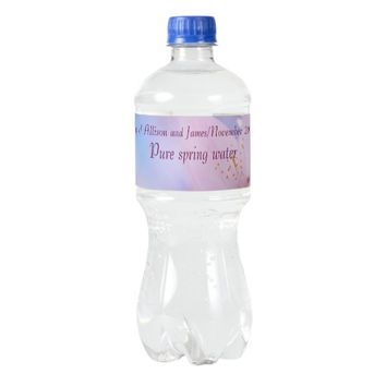 Pink cherry blossom water bottle label