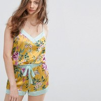 New Look Floral Satin Cami Pyjama Set at asos.com