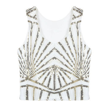 White Striped Crop Tank Top With Sequins