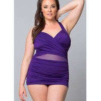 Plus Size Royal Purple Sand & Glam Illusion Swimsuit