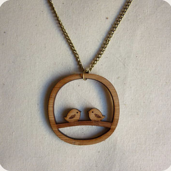 Bird necklace - laser cut wooden jewellery - bird pendant necklace - jewelry
