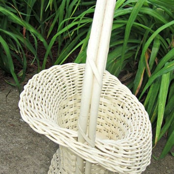 Vintage Florist Basket Wedding Baby Shower Centerpiece Gift Basket Lovely Cottage Home Decor
